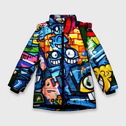 Куртка зимняя для девочки Graffiti Exclusive цвета 3D-черный — фото 1
