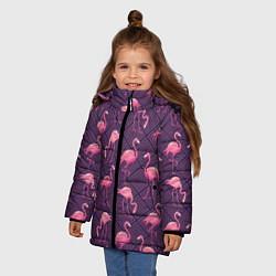 Куртка зимняя для девочки Фиолетовые фламинго цвета 3D-черный — фото 2