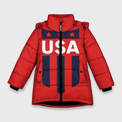 Куртка зимняя для девочки USA цвета 3D-черный — фото 1