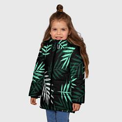 Куртка зимняя для девочки Листья пальмы цвета 3D-черный — фото 2