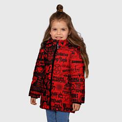 Куртка зимняя для девочки ЛОГОТИПЫ РОК ГРУПП цвета 3D-черный — фото 2