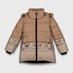 Куртка зимняя для девочки Всадники цвета 3D-черный — фото 1