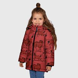Куртка зимняя для девочки Красные кони цвета 3D-черный — фото 2