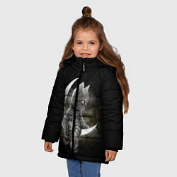 Куртка зимняя для девочки Кот на луне цвета 3D-черный — фото 2