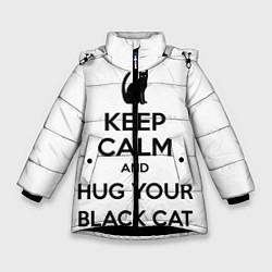 Куртка зимняя для девочки Обними своего черного кота цвета 3D-черный — фото 1