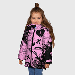 Куртка зимняя для девочки LIL PEEP цвета 3D-черный — фото 2