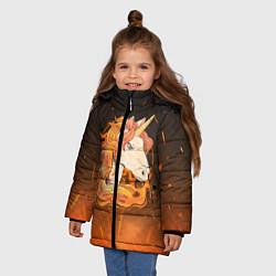 Куртка зимняя для девочки Огненный единорог цвета 3D-черный — фото 2