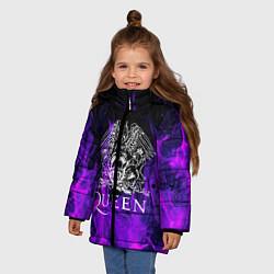 Куртка зимняя для девочки QUEEN цвета 3D-черный — фото 2