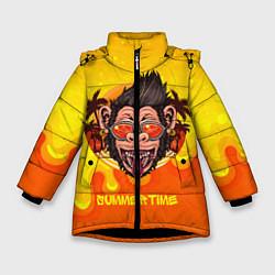 Куртка зимняя для девочки Summertime обезьяна цвета 3D-черный — фото 1