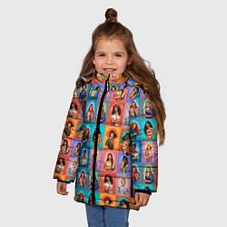 Куртка зимняя для девочки Принцессы цвета 3D-черный — фото 2