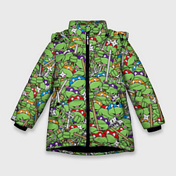 Куртка зимняя для девочки Черепашки-ниндзя цвета 3D-черный — фото 1