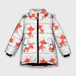 Куртка зимняя для девочки Милый олень цвета 3D-черный — фото 1