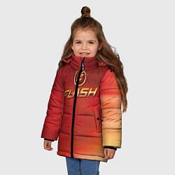 Куртка зимняя для девочки The Flash Logo Pattern цвета 3D-черный — фото 2