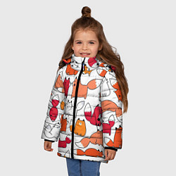 Куртка зимняя для девочки Милые лисы цвета 3D-черный — фото 2