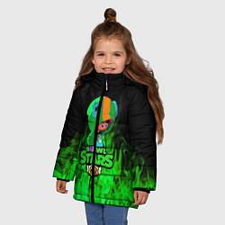Куртка зимняя для девочки Леон из Бравл Старс цвета 3D-черный — фото 2