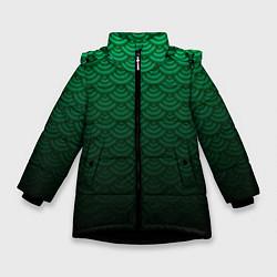 Куртка зимняя для девочки Узор зеленая чешуя дракон цвета 3D-черный — фото 1