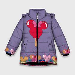 Детская зимняя куртка для девочки с принтом Минни Маус Мороженое, цвет: 3D-черный, артикул: 10250068306065 — фото 1