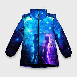 Куртка зимняя для девочки Внеземная пара луна ночь цвета 3D-черный — фото 1