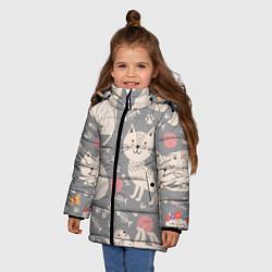 Куртка зимняя для девочки Милые кошечки цвета 3D-черный — фото 2