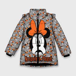 Детская зимняя куртка для девочки с принтом No spoilers , please!, цвет: 3D-черный, артикул: 10261225106065 — фото 1