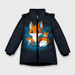 Куртка зимняя для девочки Лисы-геймеры цвета 3D-черный — фото 1