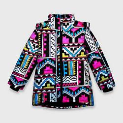 Куртка зимняя для девочки Ацтеки цвета 3D-черный — фото 1
