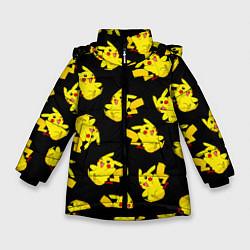 Куртка зимняя для девочки Веселый пикачу цвета 3D-черный — фото 1