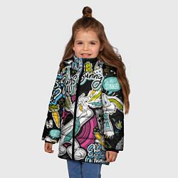 Куртка зимняя для девочки Багз Банни цвета 3D-черный — фото 2