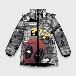 Детская зимняя куртка для девочки с принтом Deadpool, цвет: 3D-черный, артикул: 10275016106065 — фото 1