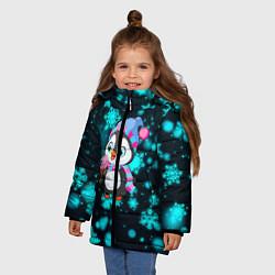 Куртка зимняя для девочки Новогодний пингвин цвета 3D-черный — фото 2