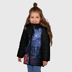 Куртка зимняя для девочки Лиса и ее дух цвета 3D-черный — фото 2