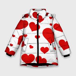 Куртка зимняя для девочки Сердечки цвета 3D-черный — фото 1