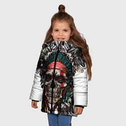 Куртка зимняя для девочки Череп индейца цвета 3D-черный — фото 2