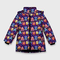 Куртка зимняя для девочки День рождения цвета 3D-черный — фото 1