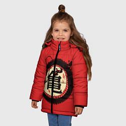 Куртка зимняя для девочки Иероглифы Китайский Дракон цвета 3D-черный — фото 2