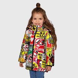 Куртка зимняя для девочки Запрещающие знаки цвета 3D-черный — фото 2