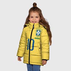 Детская зимняя куртка для девочки с принтом СБОРНАЯ БРАЗИЛИИ ПЕЛЕ, цвет: 3D-черный, артикул: 10279774906065 — фото 2