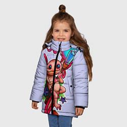 Куртка зимняя для девочки Магический аксолотль цвета 3D-черный — фото 2
