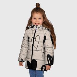 Куртка зимняя для девочки Сердечный паттерн цвета 3D-черный — фото 2