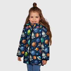 Куртка зимняя для девочки Мультяшные планеты цвета 3D-черный — фото 2