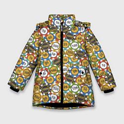 Куртка зимняя для девочки Покерные Фишки цвета 3D-черный — фото 1
