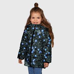 Куртка зимняя для девочки Маленькие ЦветЫ цвета 3D-черный — фото 2