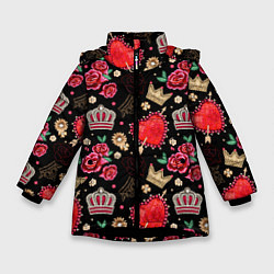 Куртка зимняя для девочки Корона и розы цвета 3D-черный — фото 1