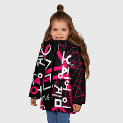 Куртка зимняя для девочки Игра в кальмара цвета 3D-черный — фото 2