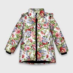Детская зимняя куртка для девочки с принтом Цветы, цвет: 3D-черный, артикул: 10063853306065 — фото 1