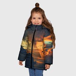 Детская зимняя куртка для девочки с принтом 30 seconds to mars, цвет: 3D-черный, артикул: 10063910606065 — фото 2