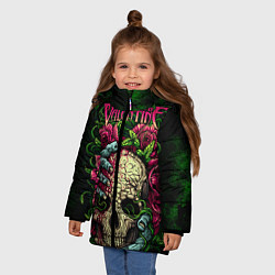 Куртка зимняя для девочки BFMV: Roses Skull цвета 3D-черный — фото 2