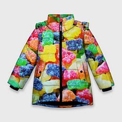 Детская зимняя куртка для девочки с принтом Мармеладные мишки, цвет: 3D-черный, артикул: 10065067406065 — фото 1