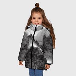 Куртка зимняя для девочки Горы цвета 3D-черный — фото 2