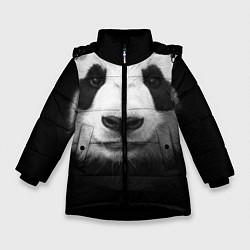 Куртка зимняя для девочки Взгляд панды цвета 3D-черный — фото 1